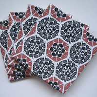 4 x Salmon Pink and Black Patchwork Pattern Ceramic Coasters with Cork Backing