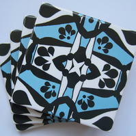 4 x Light Blue and Black Geometric Pattern Ceramic Coasters with Cork Backing