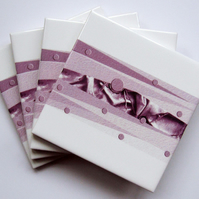 4 x Pink and White Pattern Ceramic Tile Coasters with Cork Backing