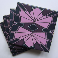 4 x Pink and Black Geometric Pattern Ceramic Coasters with Cork Backing