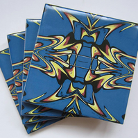 4 x Deep Blue Art Nouveau Inspired Ceramic Coasters with Cork Backing