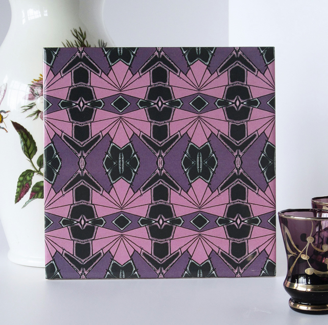 Mauve and Pink Geometric Repeat Pattern Ceramic Tile Trivet with Cork Backing