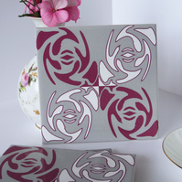 Dark Pink and Grey Knot Garden Pattern Ceramic Tile Trivet with Cork Backing