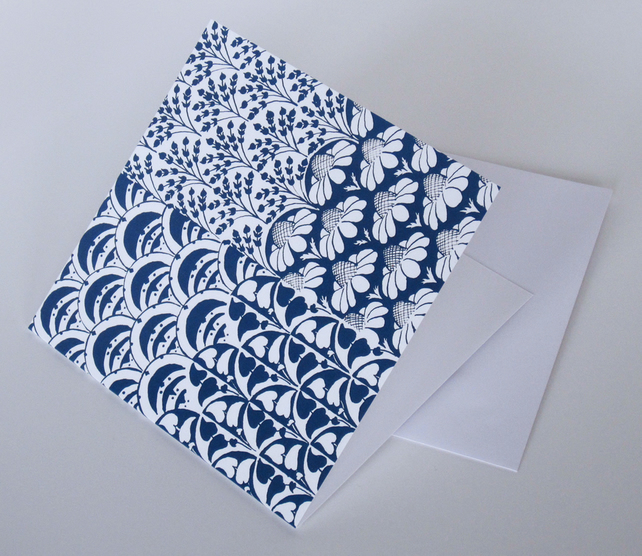 Blue Floral Pattern Blank Greeting Card - 15 x 15cm
