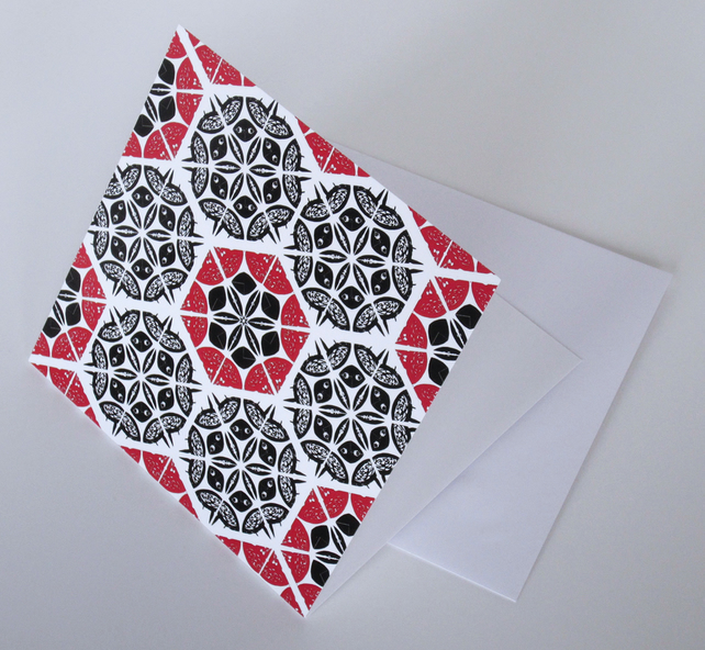 Red and Black Patchwork Pattern Blank Greeting Card - 15 x 15cm