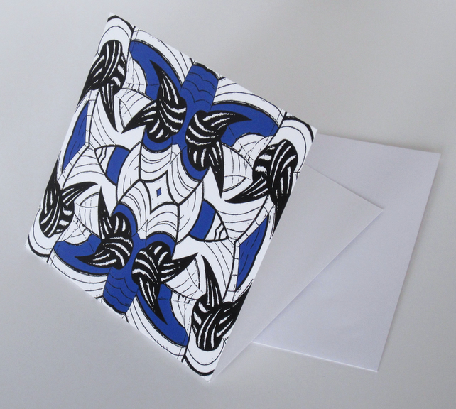 Blue Palm Pattern Blank Greeting Card - 15 x 15cm