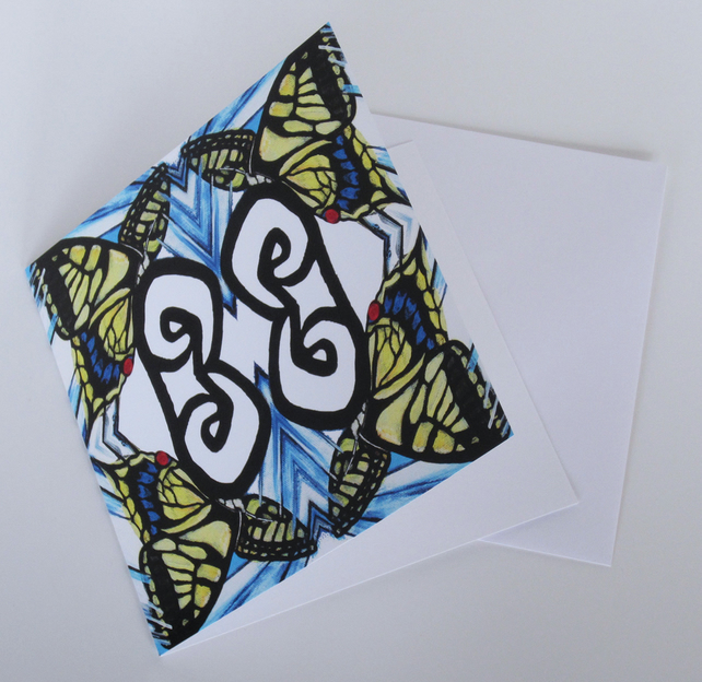 Swallowtail Butterfly Pattern Blank Greeting Card - 15 x 15cm