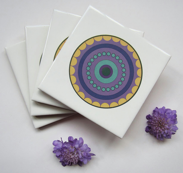 4 x Purple Circle Ceramic Tile Coasters with Cork Backing