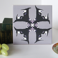 Mauve Neo Gothic Pattern Ceramic Tile Trivet with Cork Backing