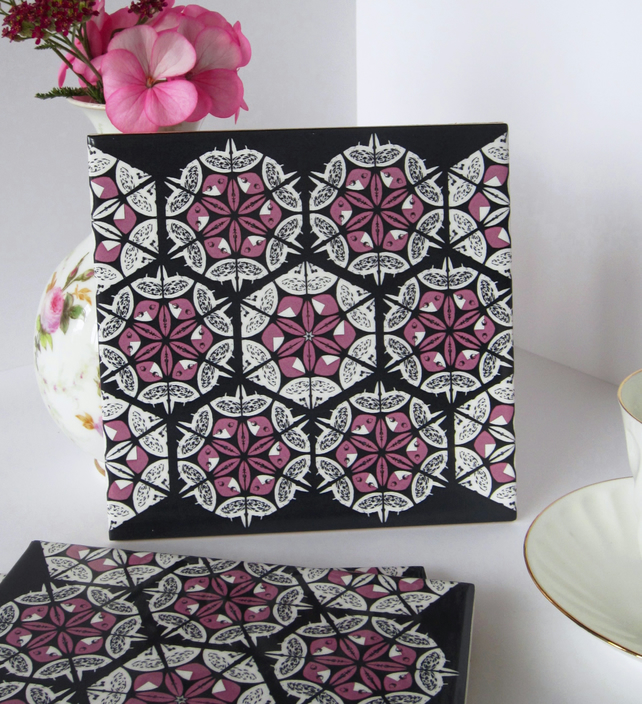 Pink and Black Patchwork  Pattern Ceramic Tile Trivet with Cork Backing