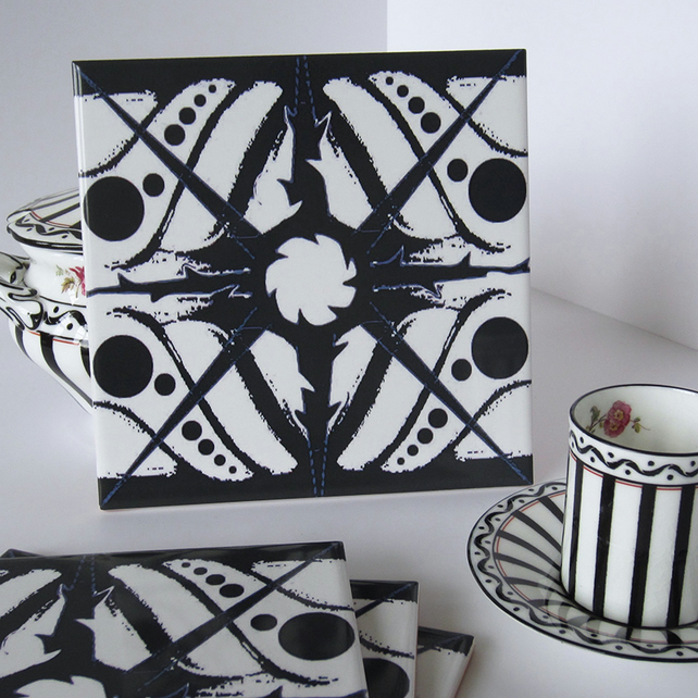 Black and White Geometric Ceramic Tile Trivet with Cork Backing