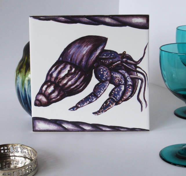 Purple Hermit Crab Tile Trivet with Cork Backing