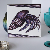 Purple Hermit Crab Design Ceramic Tile Trivet with Cork Backing