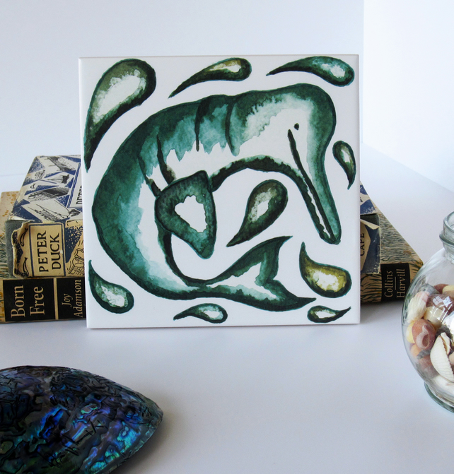 Green River Dolphin Tile Trivet with Cork Backing