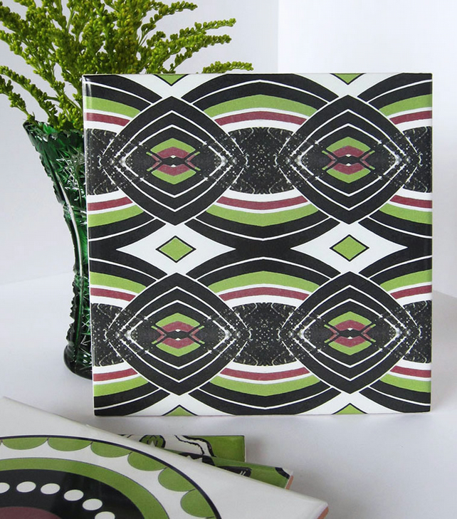 Lime Green and Black Diamond Pattern Ceramic Tile Trivet with Cork Backing