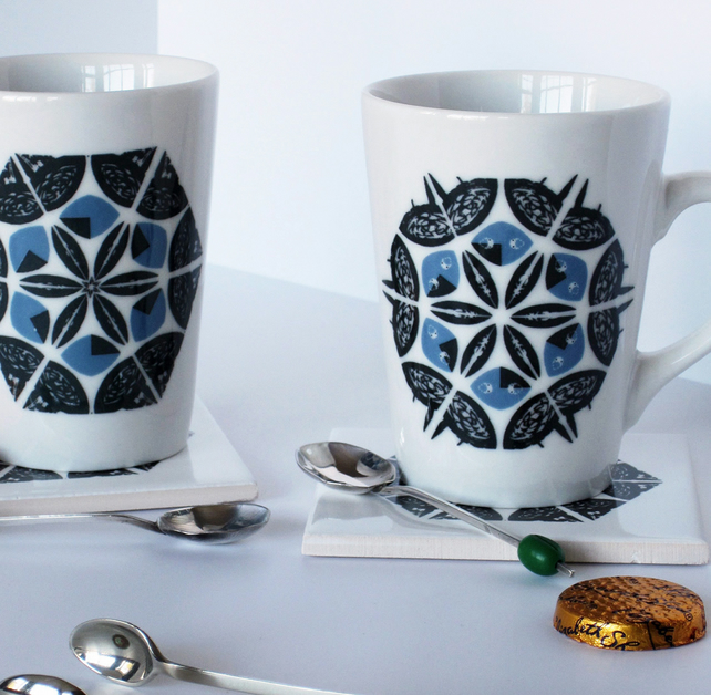 Small Blue and Black Snowflake Ceramic Mug