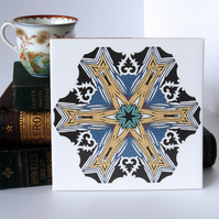 Multicoloured Doily Pattern Ceramic Tile Trivet with Cork Backing