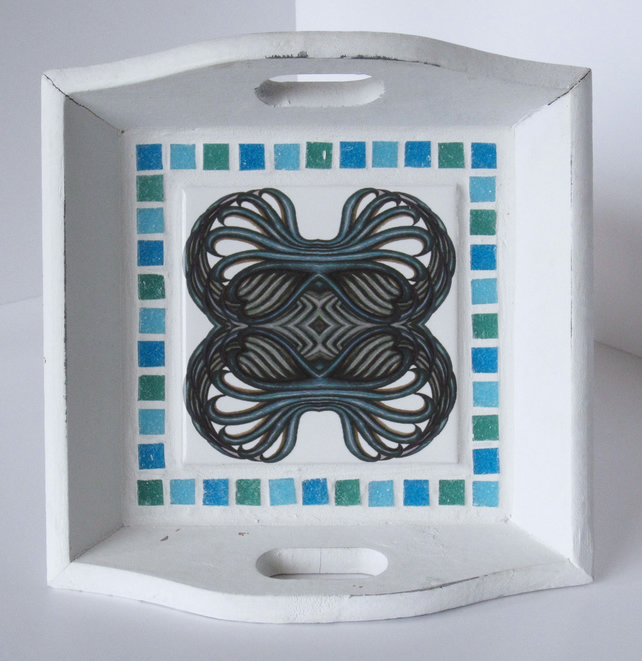 Small Green, Blue and White Rustic Wooden Tile and Mosaic Tray with Handles