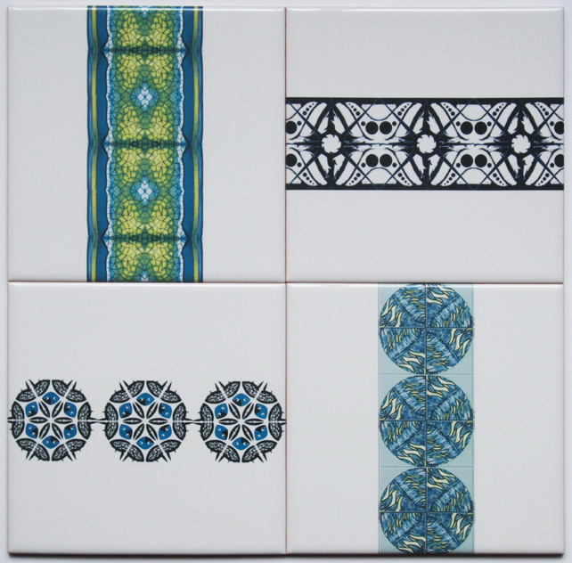 Job Lot of 4 x Mixed Patterned Ceramic Wall Tiles