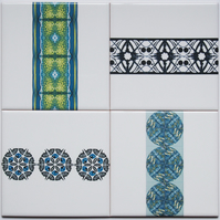 Mixed Lot of 4 x Patterned Ceramic Wall Tiles