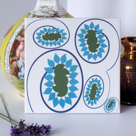 Blue and Green Floral Pattern Ceramic Tile Trivet with Cork Backing