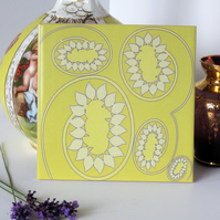Yellow Abstract Sunflower Pattern Ceramic Tile Trivet with Cork Backing
