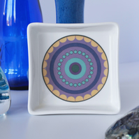 Purple Concentric Circle Ceramic Dish, 10 x 10cm, Many Uses