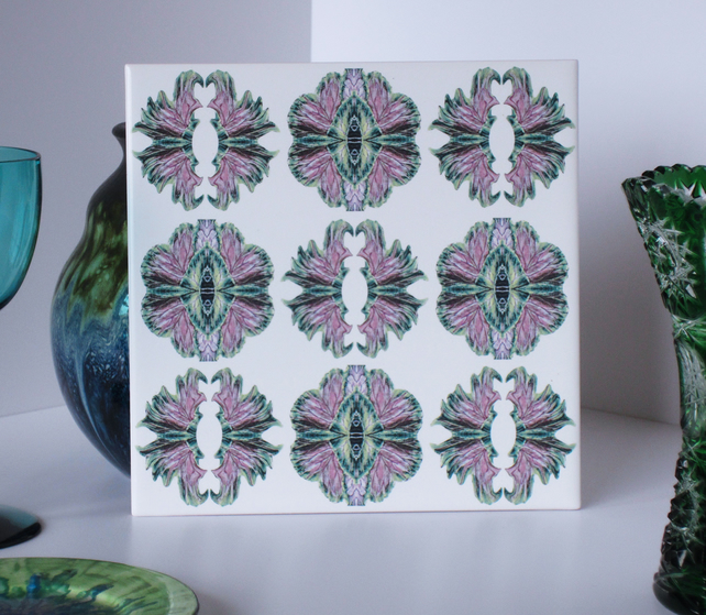 Ornamental Cabbage Pattern Ceramic Tile Trivet with Cork Backing