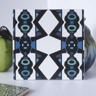 Blue and Black Bold Geometric Pattern Ceramic Tile Trivet with Cork Backing