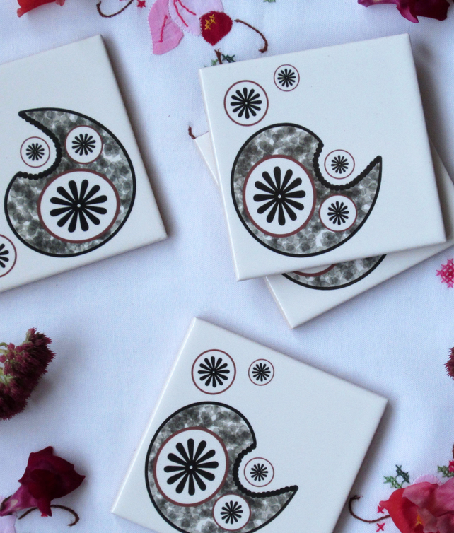 4 x Paisley Star Ceramic Tile Coasters with Cork Backing