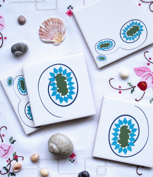 4 x Blue and Green Floral Ceramic Tile Coasters with Cork Backing