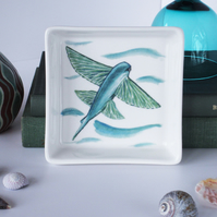 Flying Fish Design Ceramic Dish, 10 x 10cm, Many Uses