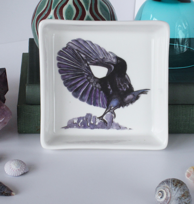 Paradise Riflebird Design Ceramic Dish, 10 x 10cm, Many Uses
