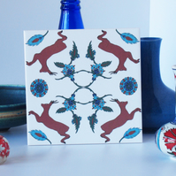 Ottoman Inspired Roe Deer Ceramic Tile Trivet with Cork Backing