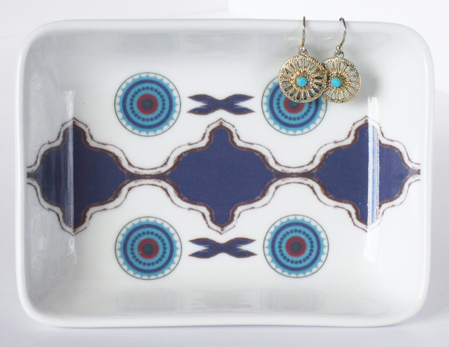 North African Inspired Ceramic Dish, 13 x 9.5cm, Many Uses