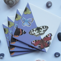 Set of 4 Mauve British Butterfly Ceramic Tile Coasters with Cork Backing