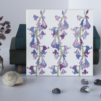 Bluebell Floral Pattern Ceramic Tile Trivet with Cork Backing