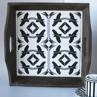 Rustic Wooden Black and White Bird Tile Tray with Handles