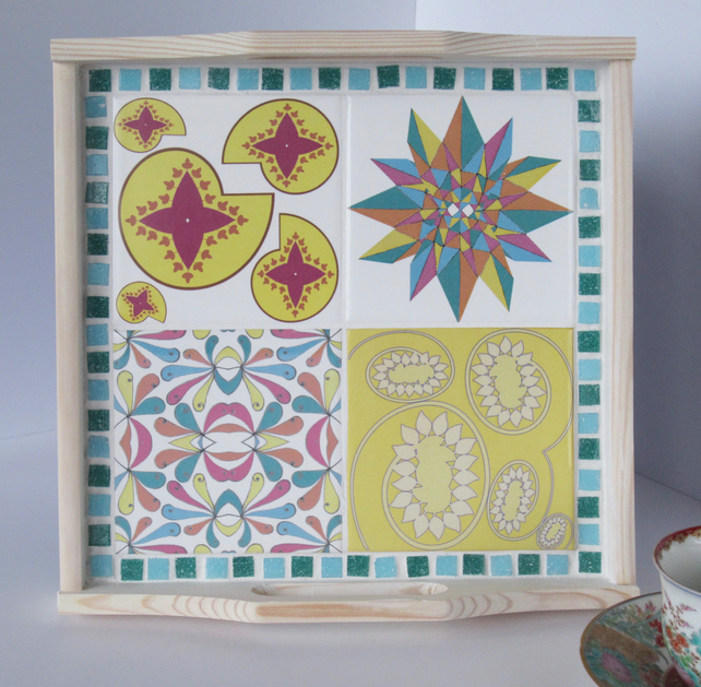 Geometric Tile and Mosaic White Washed Wooden Tray in Pink Green and Yellow
