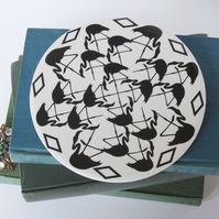Geometric Flamingo Pattern Round Ceramic Tile Trivet with Cork Backing