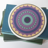 Mauve Geometric Circle Pattern Round Ceramic Tile Trivet with Cork Backing