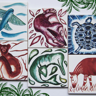 6 x Animalia Design Ceramic Tile Coasters with Cork Backing
