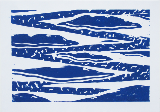 Blue and White Geometric Cloud  Limited Edition Linocut Print