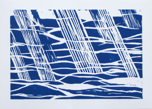 Blue and White Abstract Rainfall Limited Edition Linocut Print