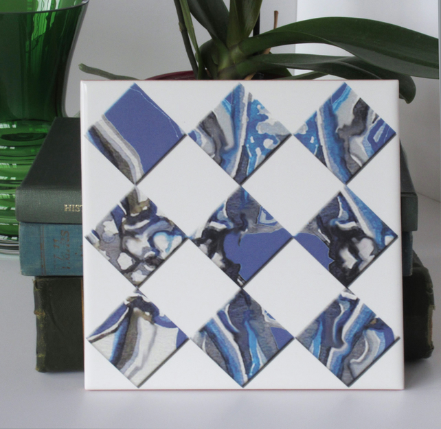 Blue Marbled Effect Diamond Pattern Ceramic Tile Trivet with Cork Backing