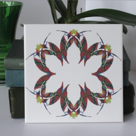 Leaf or Floral Pattern Ceramic Tile Trivet in Red Tones with Cork Backing