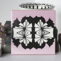 Pink Black and White Abstract Pattern Ceramic Tile Trivet with Cork Backing