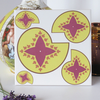 Yellow and Pink Paisley Pattern Ceramic Tile Trivet with Cork Backing