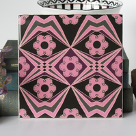 Pink and Black Bold Pattern Ceramic Tile Trivet with Cork Backing