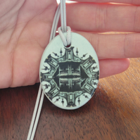 Light Green Architecture Design Ceramic Pendant on Grey Cord with Lobster Clasp